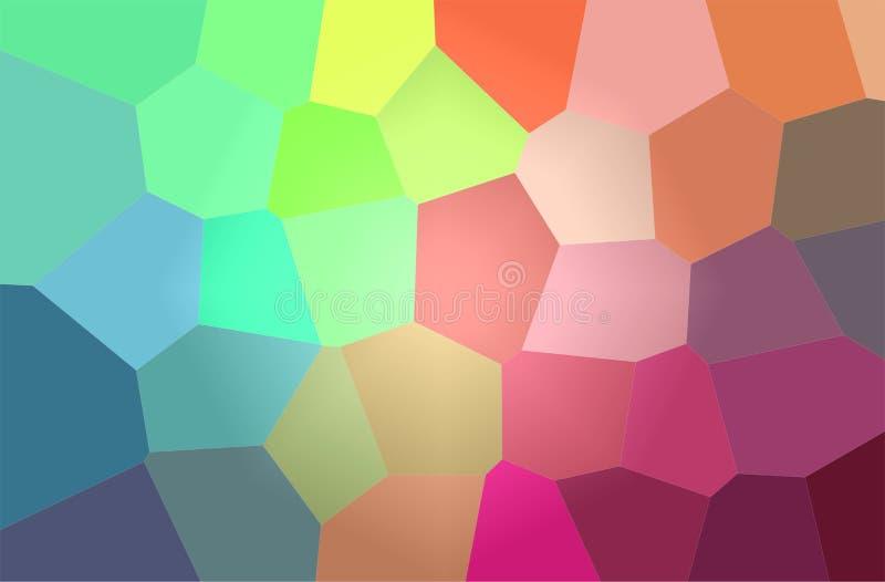 Ejemplo abstracto del fondo gigante brillante azul, verde y rojo del hexágono stock de ilustración