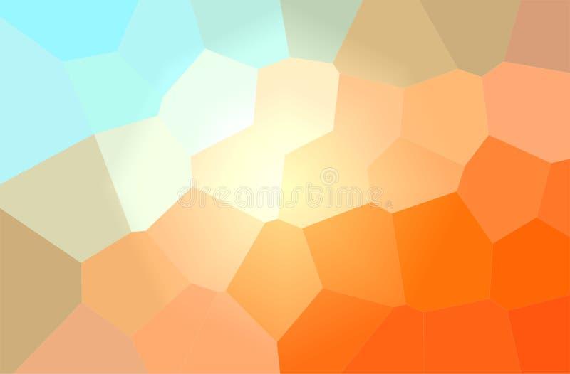 Ejemplo abstracto del fondo gigante en colores pastel azul y anaranjado del hexágono ilustración del vector