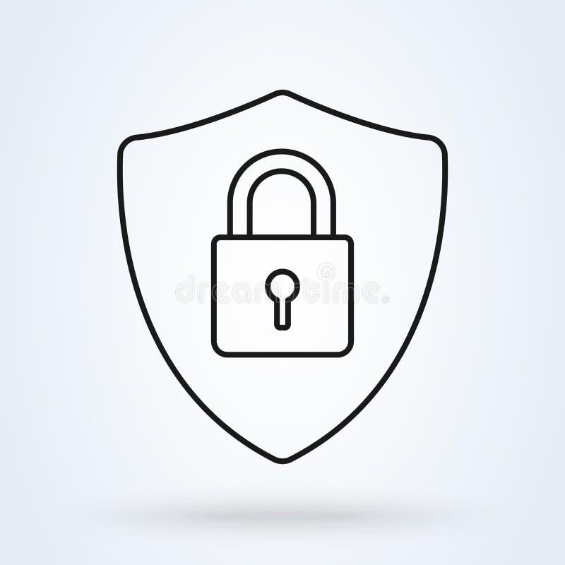 Ejemplo abstracto del icono del vector de la seguridad aislado en fondo negro Icono de la seguridad del escudo ilustración del vector