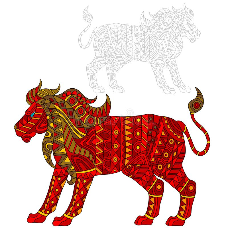 Ejemplo abstracto del león rojo, animal y pintado su esquema en el fondo blanco, aislante ilustración del vector