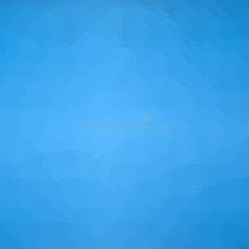 Ejemplo abstracto del mosaico azul del trampista cuadrado a través del fondo de los ladrillos de cristal, digital generado ilustración del vector
