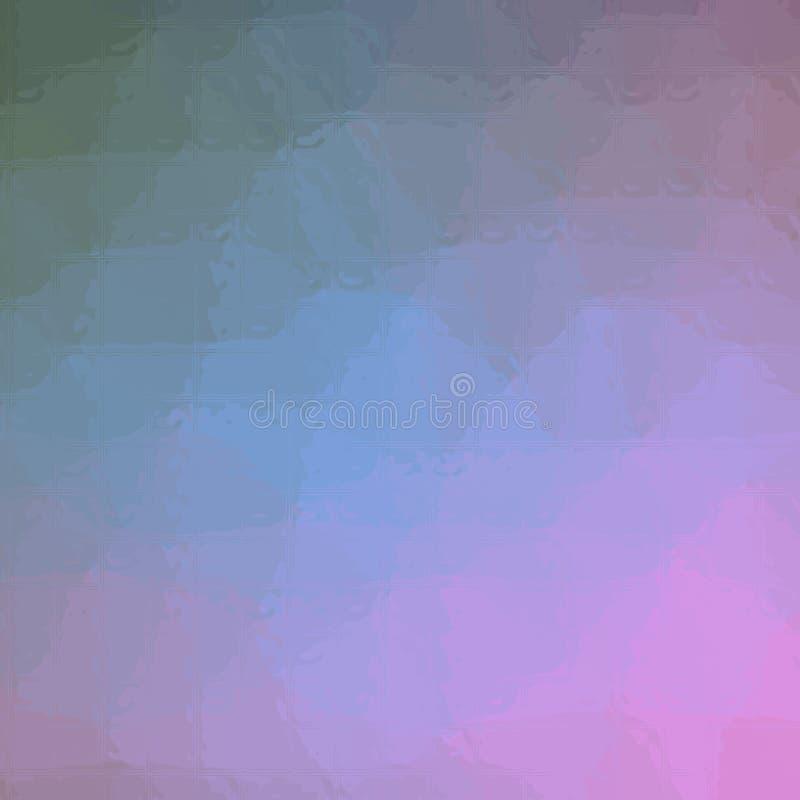 Ejemplo abstracto del mosaico azulverde y rosado cuadrado a través del fondo de los ladrillos de cristal, digital generado ilustración del vector