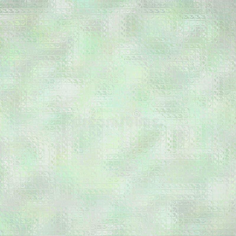 Ejemplo abstracto del mosaico brillante de la crema cuadrada de la menta a través del fondo de los ladrillos de cristal, digital  stock de ilustración