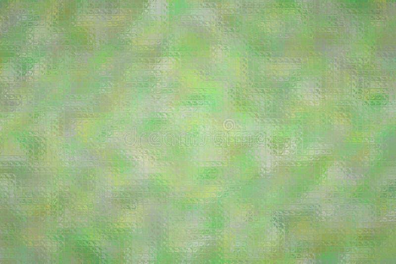 Ejemplo abstracto del mosaico brillante de plata y verde a través del fondo de los ladrillos de cristal, digital generado libre illustration