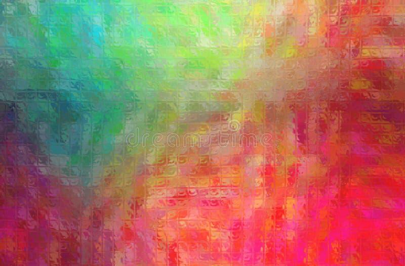 Ejemplo abstracto del mosaico brillante rojo, azul y amarillo a través del fondo de los ladrillos de cristal ilustración del vector