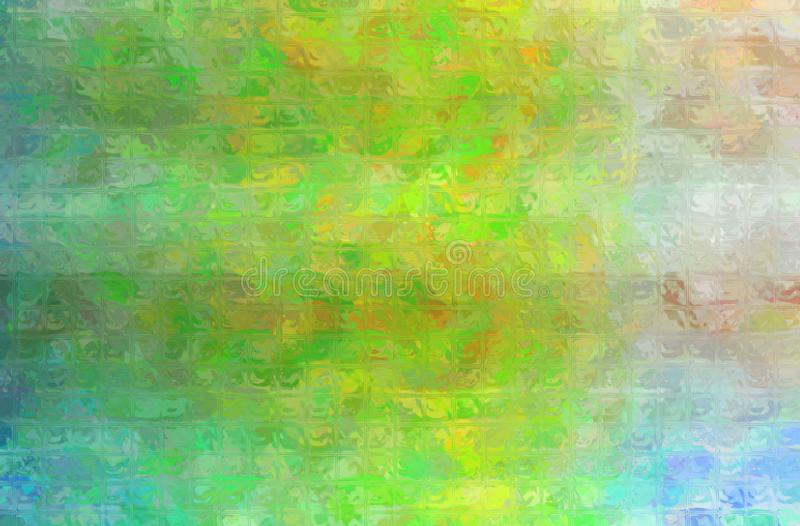 Ejemplo abstracto del mosaico brillante verde, azul y cremoso a través del fondo de los ladrillos de cristal stock de ilustración