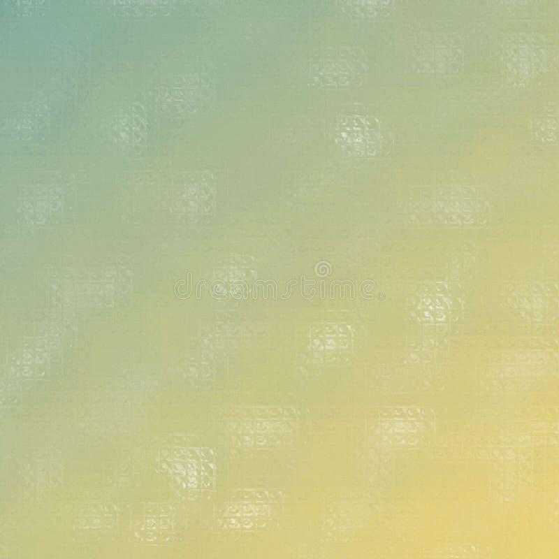 Ejemplo abstracto del mosaico colorido amarillo y azul cuadrado a través del fondo de los ladrillos de cristal, digital generado stock de ilustración