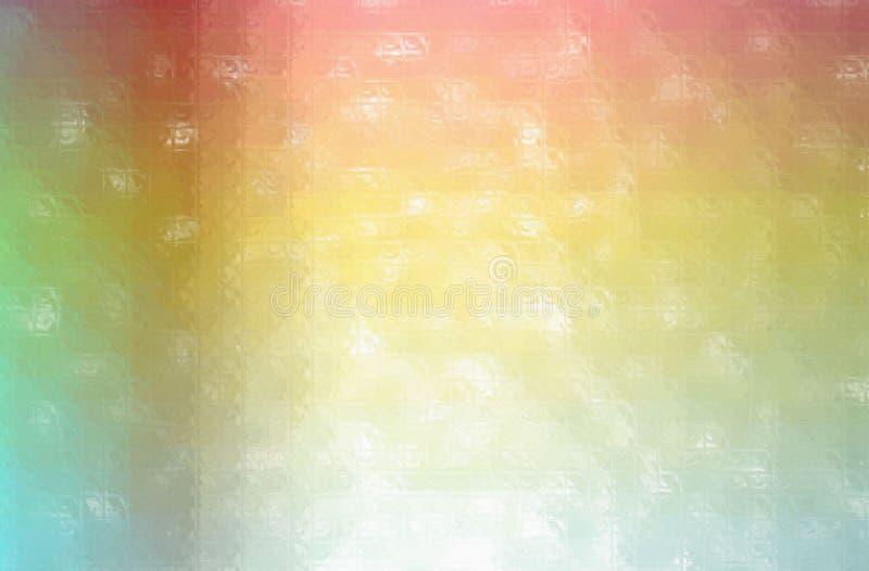Ejemplo abstracto del mosaico colorido rojo, verde, amarillo y azul a través del fondo de los ladrillos de cristal stock de ilustración