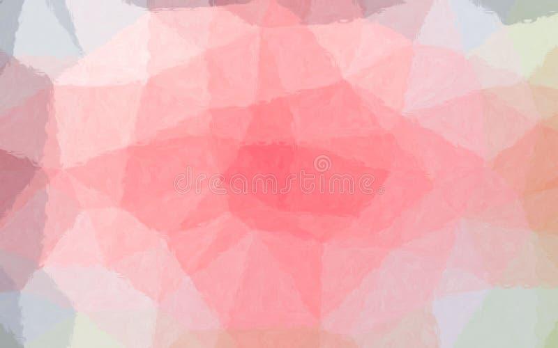 Ejemplo abstracto del mosaico en colores pastel blanco y rojo a través del fondo de los ladrillos de cristal, digital generado stock de ilustración