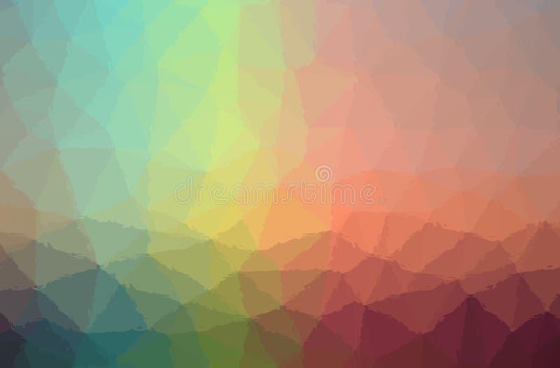 Ejemplo abstracto del mosaico rojo, amarillo, verde y azul a través del fondo de los ladrillos de cristal stock de ilustración