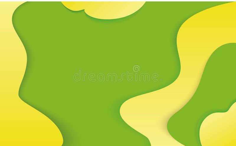 ejemplo abstracto del papel 3d Fondo verde y amarillo Disposición de diseño del vector para las presentaciones, los aviadores, lo stock de ilustración