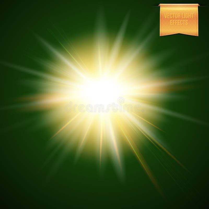 Ejemplo abstracto del sol amarillo caliente que brilla intensamente, explosión del vector de la estrella en fondo oscuro libre illustration