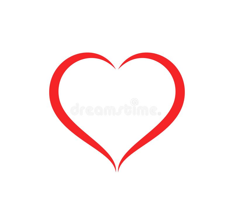 Ejemplo abstracto del vector del cuidado del esquema de la forma del corazón Icono rojo del corazón en estilo plano ilustración del vector