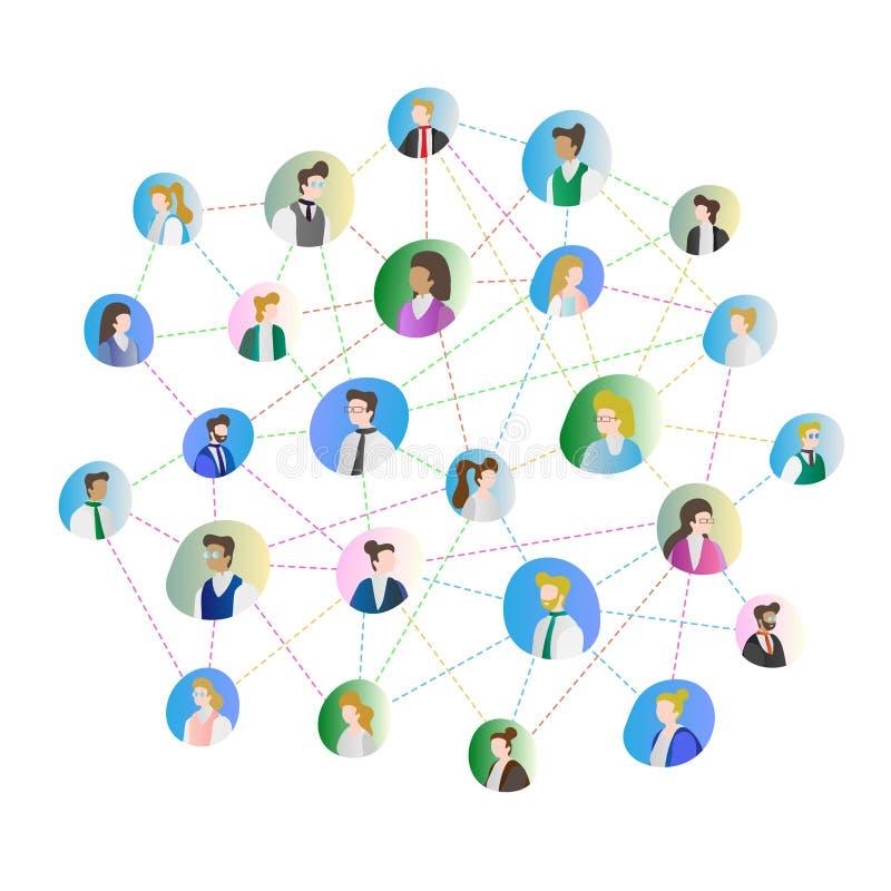 Ejemplo abstracto del vector de la conexión de la gente Negocio u ocio que recolecta junto usando conocido Rostros humanos en cír stock de ilustración