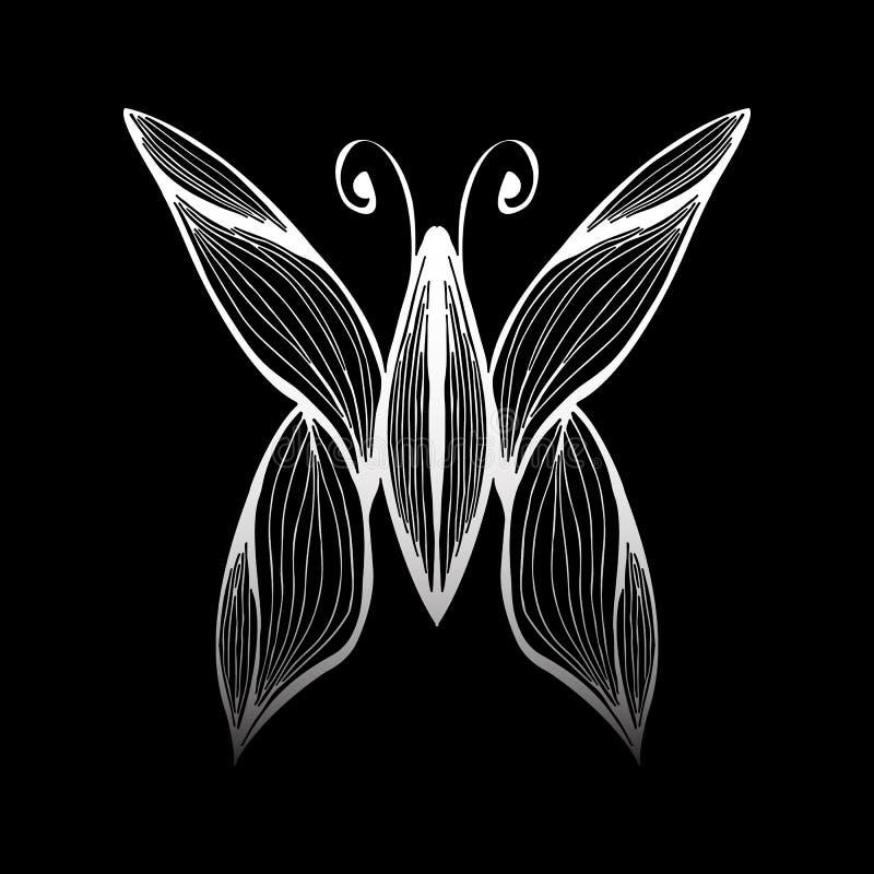 Ejemplo abstracto del vector de la mariposa exhausta de la mano aislada en fondo negro Dibujo de la tinta, estilo gr?fico bosquej ilustración del vector