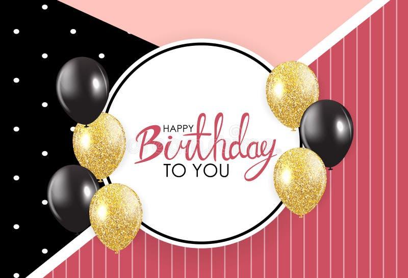 Ejemplo abstracto del vector de la plantilla de la tarjeta del fondo del feliz cumpleaños stock de ilustración