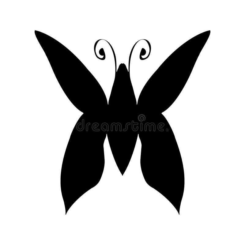 Ejemplo abstracto del vector de la silueta exhausta de la mariposa de la mano aislada en el fondo blanco Dibujo de la tinta, esti libre illustration