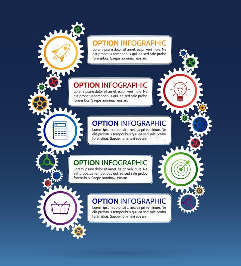 Ejemplo abstracto del vector del diseño infographic con el engranaje y stock de ilustración