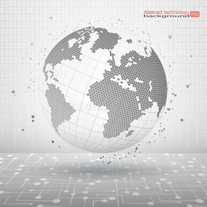 ejemplo abstracto del vector Planeta de la tecnología La imagen simbólica de las líneas de puntos y de los puntos de una esfera C stock de ilustración