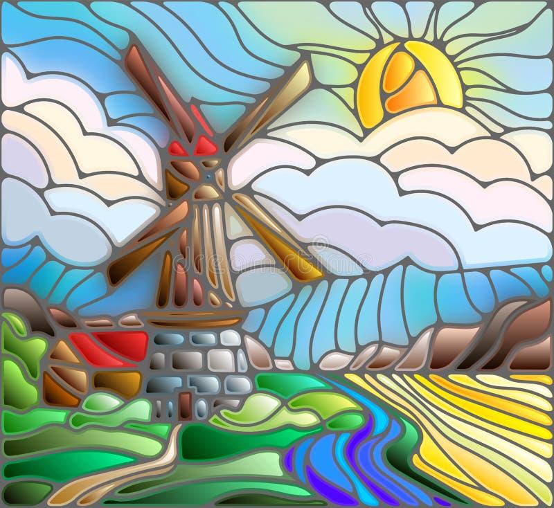 Ejemplo abstracto del vitral con el molino de viento en el fondo del cielo, de los ríos y de los campos libre illustration