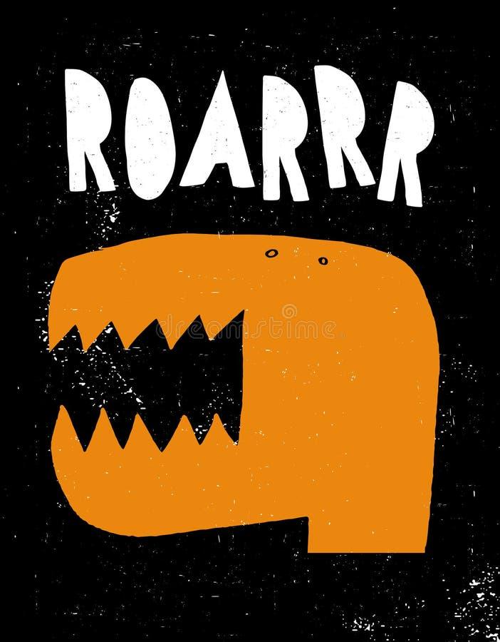 Ejemplo abstracto dibujado mano del vector del dinosaurio Partido del monstruo libre illustration