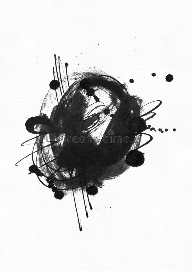 Ejemplo abstracto granoso grande con el círculo negro de la tinta, mano dibujada con el cepillo y tinta del líquido en el papel d stock de ilustración