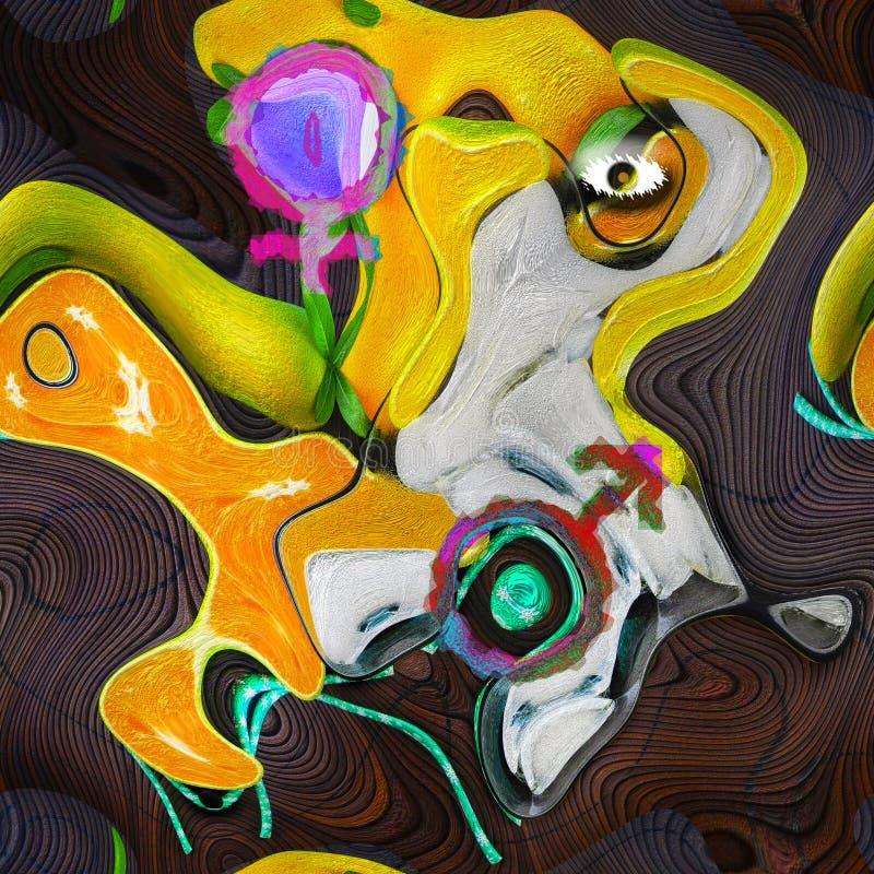 Ejemplo abstracto hembra-varón amarillo vivo stock de ilustración