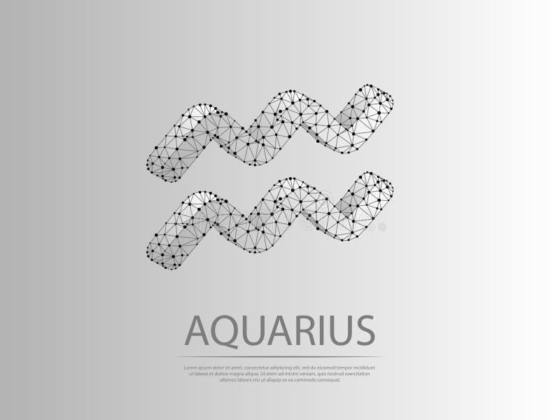 Ejemplo abstracto polivinílico bajo del zodiaco 3D del acuario Concepto del wireframe del dígito del vector de la papiroflexia libre illustration