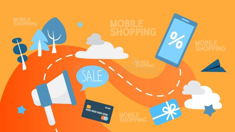 Ejemplo abstracto que hace compras de Mobie ilustración del vector