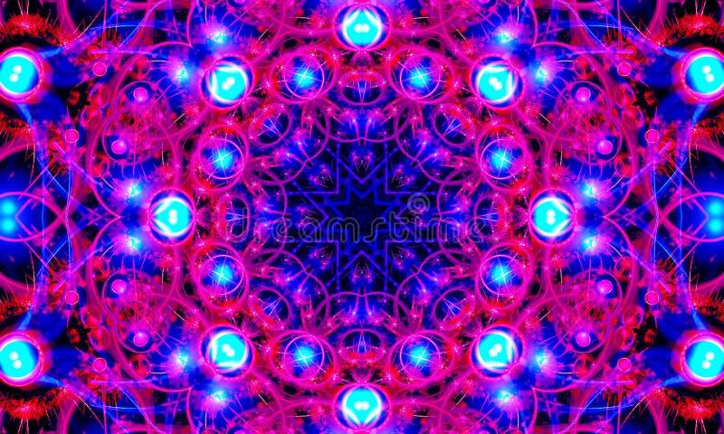 Ejemplo abstracto - rosa brillante y arte azul de la mandala stock de ilustración