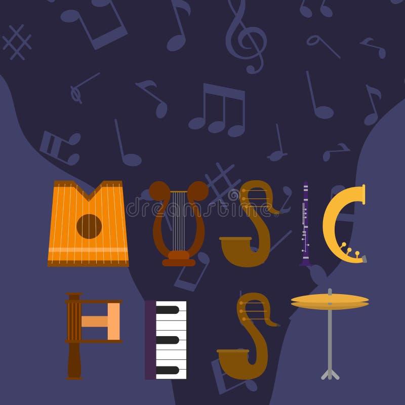 Ejemplo acústico del vector del festival de música Concierto vivo de la roca, del jazz o del música pop Bandera musical de la web stock de ilustración