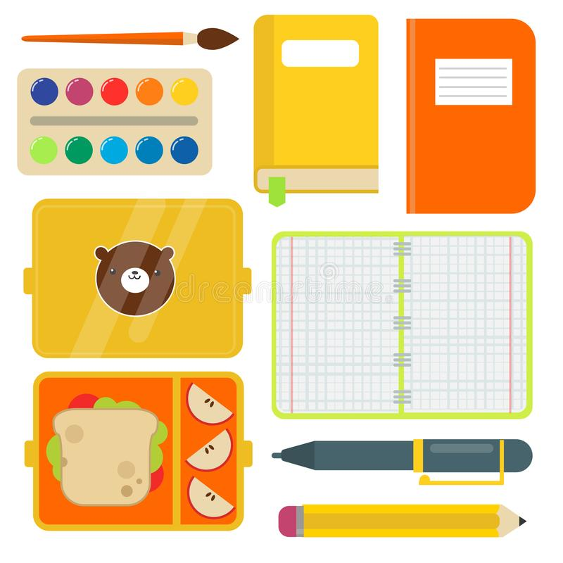 Ejemplo accesorio educativo inmóvil del vector del cuaderno del estudiante de los niños de las fuentes de escuela ilustración del vector