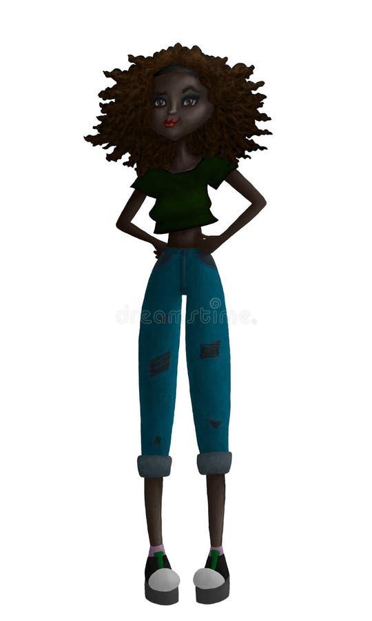 Ejemplo adolescente negro colorido de la moda de la trama stock de ilustración