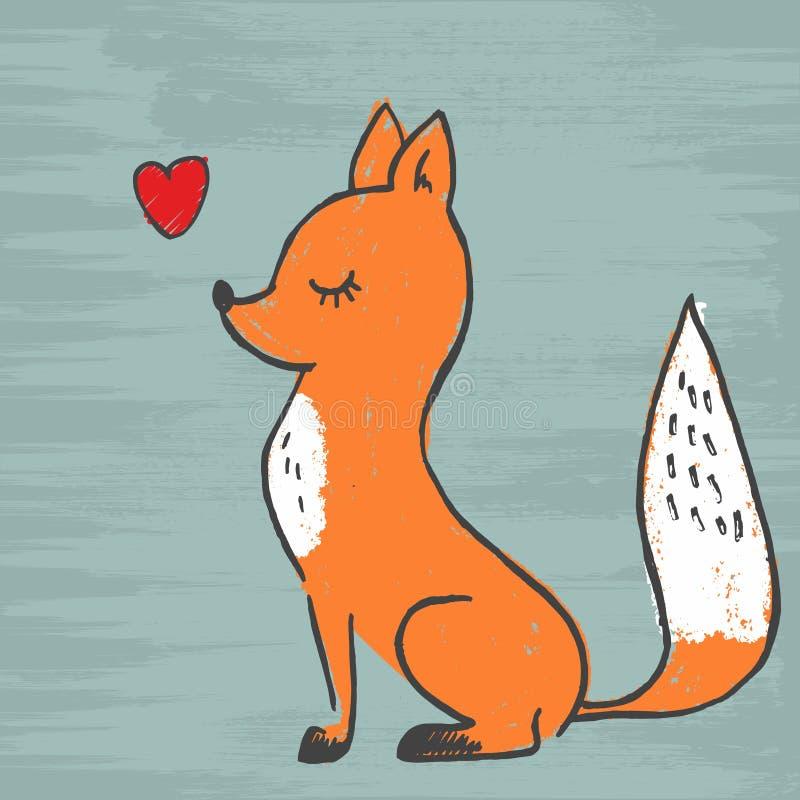 Ejemplo adorable del vector de la historieta del zorro lindo Imagen de un diseño del zorro, animales salvajes del vector ilustración del vector