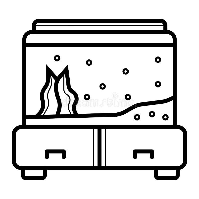 Ejemplo adornado del vector del icono del acuario stock de ilustración