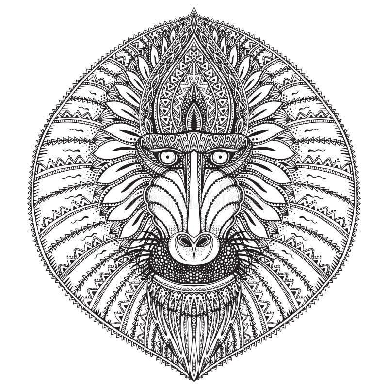 Ejemplo adornado dibujado mano de la cara del babuino del vector ilustración del vector