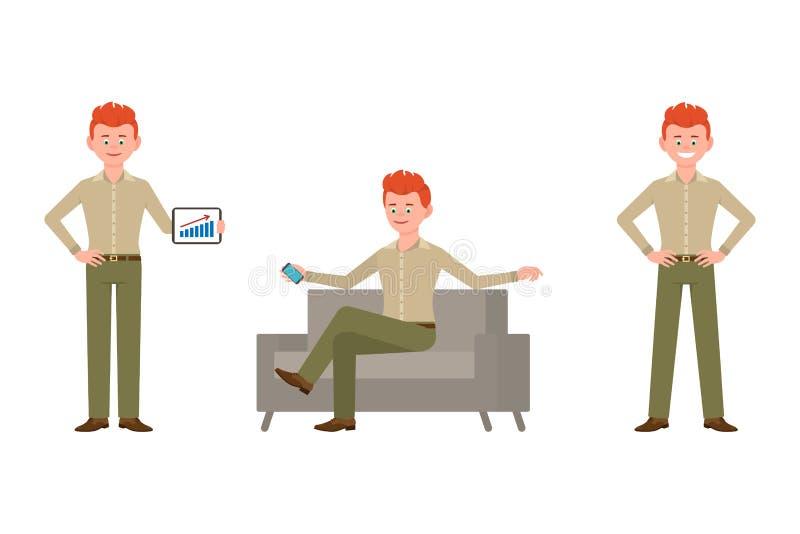 Ejemplo adulto del vector del hombre del negocio amistoso, elegante, rojo del pelo Colocándose con la tableta, sentándose en el s stock de ilustración
