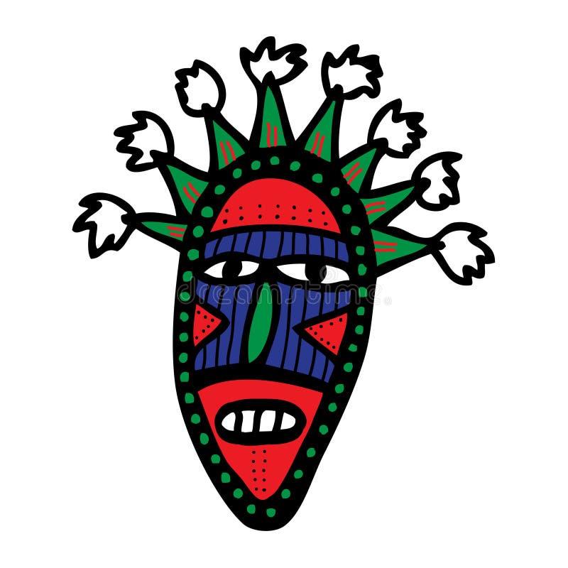Máscara tribal del cartón stock de ilustración