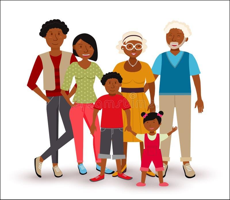 Ejemplo afroamericano feliz de la familia ilustración del vector