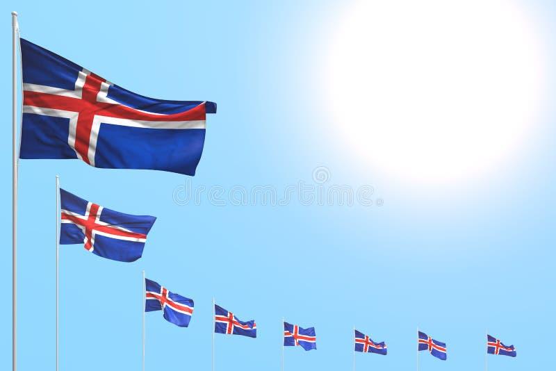 Ejemplo agradable de la bandera 3d de la festividad nacional - muchas banderas de Islandia colocaron diagonal en el cielo azul co ilustración del vector