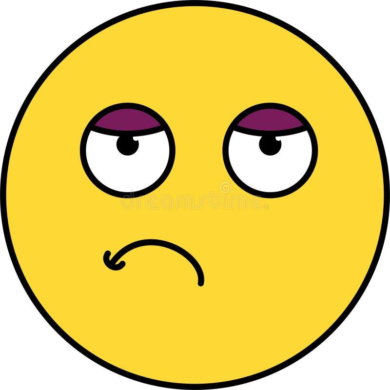 Ejemplo agujereado, cansado del emoji ilustración del vector