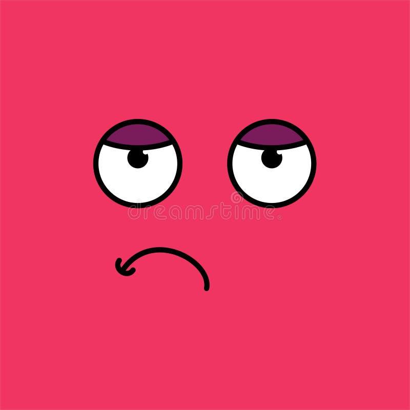 Ejemplo agujereado, cansado del vector del emoji libre illustration