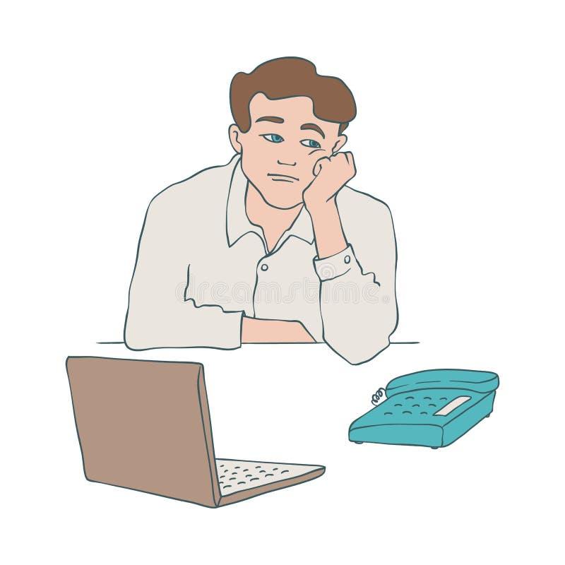 Ejemplo agujereado del vector del hombre del carácter masculino joven que se sienta en la tabla y que inclina su cabeza en su bra ilustración del vector