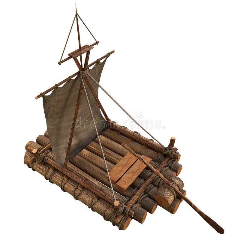 Ejemplo aislado balsa de madera del objeto 3d del flotador stock de ilustración
