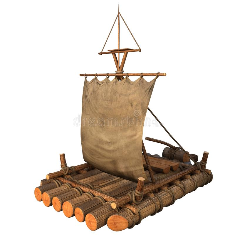 Ejemplo aislado balsa de madera del objeto 3d del flotador ilustración del vector