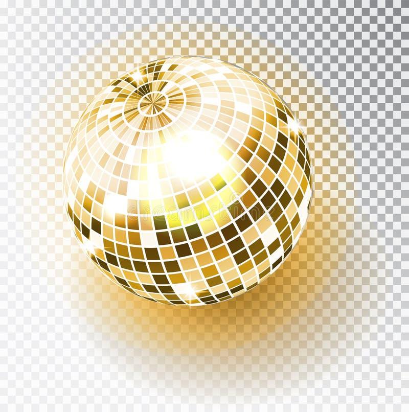 Ejemplo aislado bola de discoteca Elemento de la luz del partido del club de noche Diseño de oro de la bola del espejo brillante  ilustración del vector