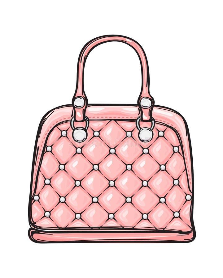 Ejemplo aislado bolso rosado de cuero de moda ilustración del vector