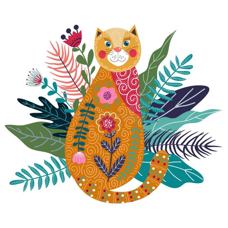 Ejemplo aislado colorido del vector del arte con el gato, la flor y la hierba lindos del jengibre ilustración del vector
