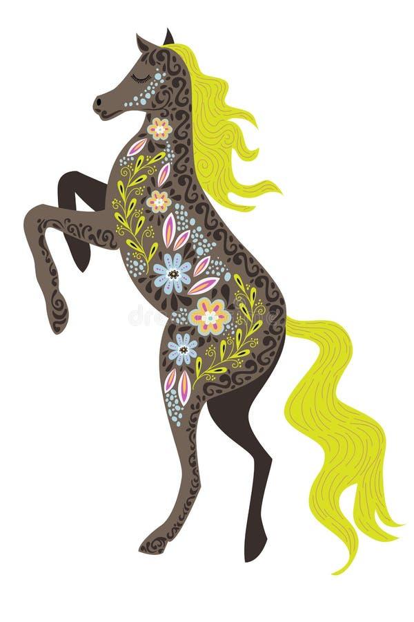 Ejemplo aislado colorido vertical del vector del arte con el caballo popular abstracto hermoso en un fondo blanco ilustración del vector