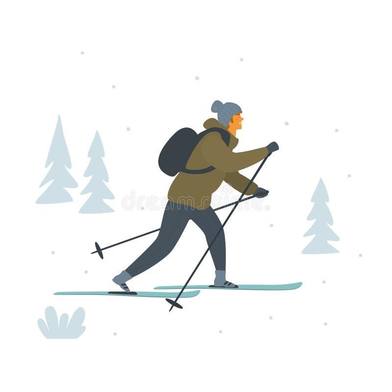 Ejemplo aislado de esquí del vector del campo a través del hombre ilustración del vector